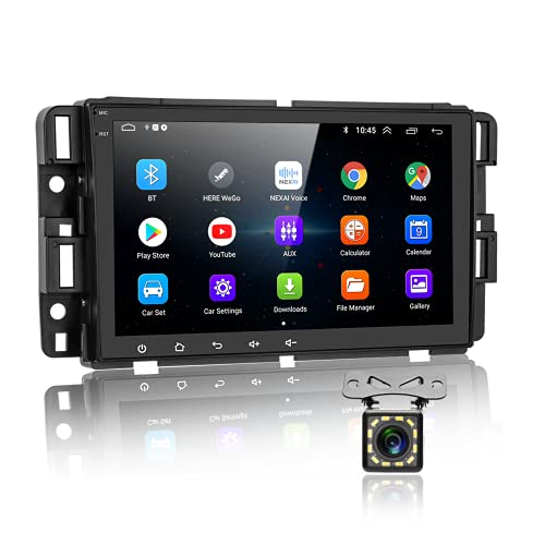 Podofo Android Car Radio Stereo with GPS Bluetooth for GMC Sierra Acadia Chevrolet Silverado Buick Enclave Hummer H2, 8 Inch Touchscreen/WiFi/SWC/FM RDS/Dual USB/ + Backup Camera