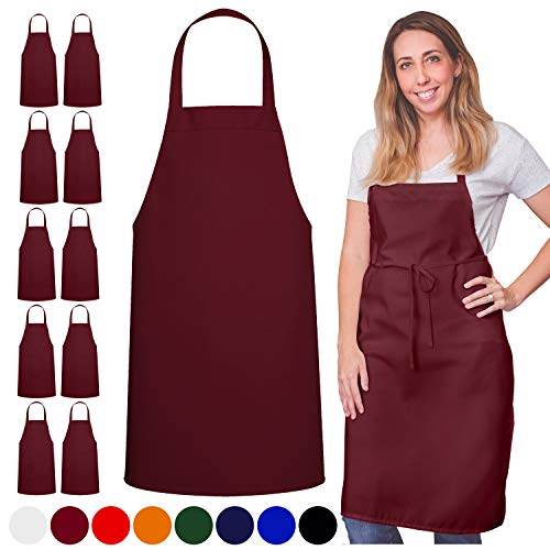 GREEN LIFESTYLE 12 Pack Bib Apron - Unisex Apron Bulk Machine Washable for Kitchen Crafting BBQ Drawing Outdoors (Pack of 12, Burgundy)