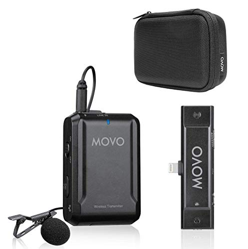 Movo Edge-DI Wireless Lavalier for iPhone- Lightning Omnidirectional Lapel Microphone System - Perfect for Vloggers, Filmmakers, Interviews, Teachers, Smartphone Video, Gimbals and More