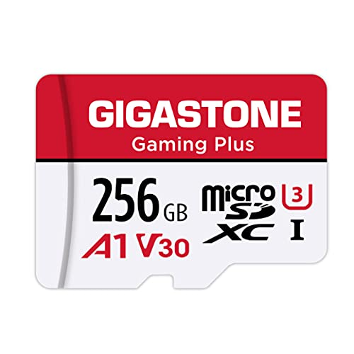 Gigastone 256GB Micro SD Card, Gaming Plus, MicroSDXC Memory Card for Nintendo-Switch, 100MB/s, 4K Video Recording, Action Camera, Wyze, GoPro,Dash Cam, Security Camera, UHS-I A1 U3 V30 Class 10