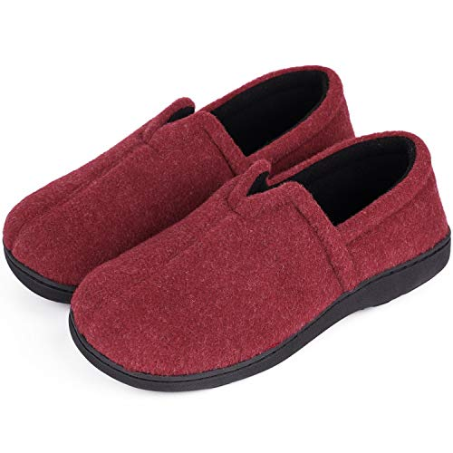 Women's Comfort Micro Wool Felt Memory Foam Loafer Slippers Anti-Skid House Shoes for Indoor Outdoor Use (9 M, Burgundy)