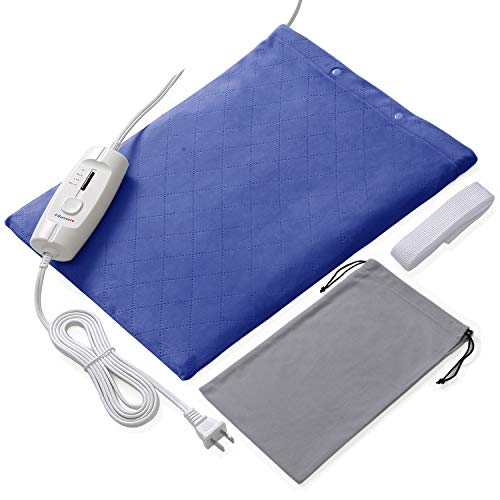 Large Electric Heating Pads for Lower Back Pain and Cramps Fast Relief with Auto Shut Off and 4 Temperature Settings (Navy Blue)