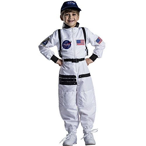Dress Up America Astronaut Costume for Kids–NASA White Spacesuit for Boys & Girl