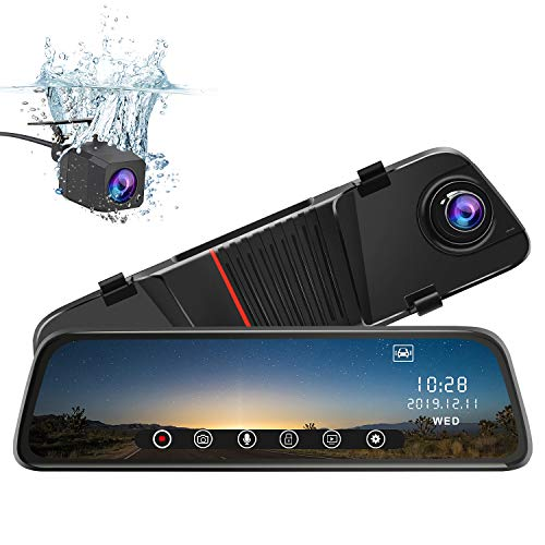 j Junsun Mirror Dash Cam Front and Rear, 10 Inch Touch Screen Front 1080P Rear View 1080P Dual Lens 170 Degrees Wide Angle with Backup Camera G-Sensor Parking Monitor Night Vision