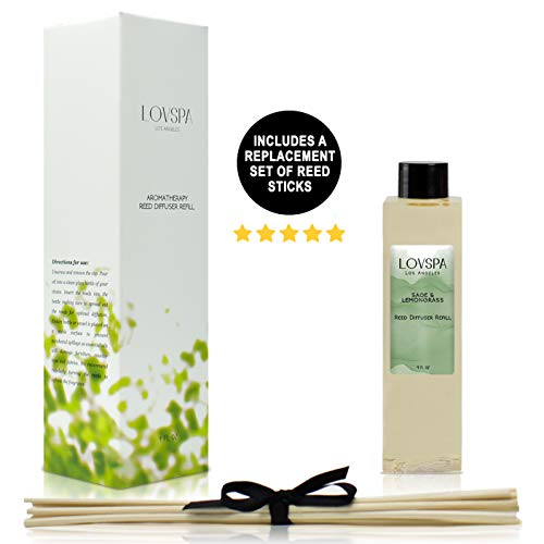 LOVSPA Sage & Lemongrass Reed Diffuser Refill Oil with Replacement Reed Sticks - Great Scent for Kitchen or Bathroom, 4 oz - Made in The USA