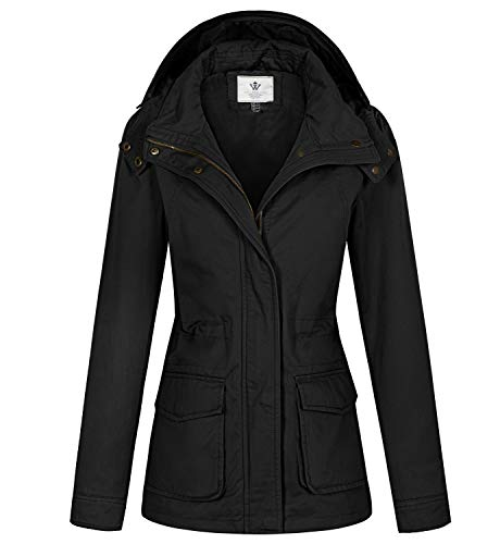 WenVen Women's Spring Cotton Casual Military Coat Hoodie Anorak Jacket Black M