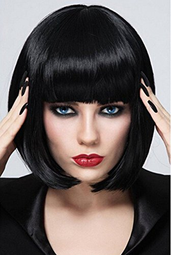 Short Bob Wigs Black Wig for Women with Bangs Straight Synthetic Wig Natural As Real Hair 12'' BU027BK