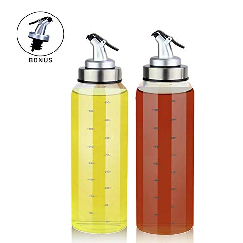 Marbrasse 2 Pack Olive Oil Dispenser Bottle, 17 Oz Vinegar Dispensing Cruets With Dripless Capped Spout, No Drip,Liquid Condiment Container, Glass Decanter for Kitchen with Degree Scale