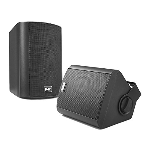 Wall Mount Home Speaker System - Active + Passive Pair Wireless Bluetooth Compatible Indoor / Outdoor Waterproof Weatherproof Stereo Sound Speaker Set with AUX IN - Pyle PDWR52BTBK (Black), 5.25 Inch