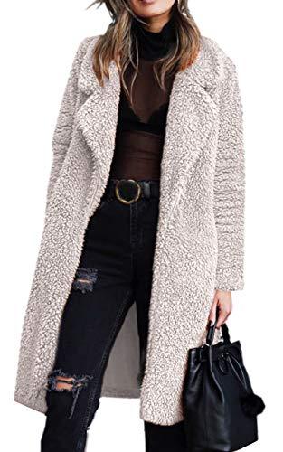 Angashion Women's Fuzzy Fleece Lapel Open Front Long Cardigan Coat Faux Fur Warm Winter Outwear Jackets with Pockets Light Beige M