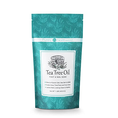 Tea Tree Oil Foot & Body Soak-Alleviates Toenail Fungus, Athletes Foot & Stinky Foot Odor. Softens Dry Calloused Heels, Relieves Burning & Itching associated with Fungal Irritations. Soothing for Plantar Fasciitis & Gout. Made in the USA by Purely Northwest. 16 Oz