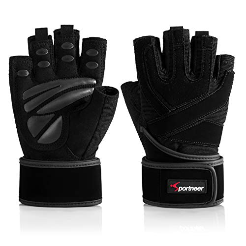 """Padded Weight Lifting Gloves, Gym Gloves, Workout Gloves with Built-in 19"""" Wrist Wraps, Exercise Gloves for Cross Training, Pull Ups, Fitness, Powerlifting (Medium)"""