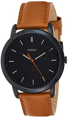 Fossil Men's The Minimalist Quartz Stainless Steel and Leather Casual Watch, Color: Black, Brown (Model: FS5305)