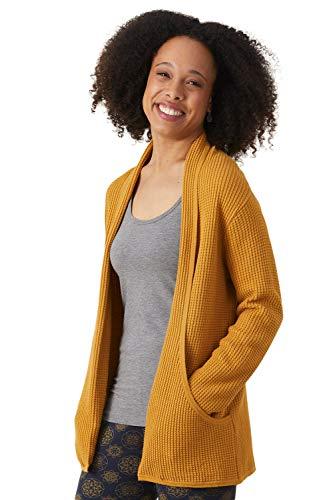 Fair Indigo Fair Trade Organic Cotton/Alpaca Waffle Knit Cardigan (XS, Gold)