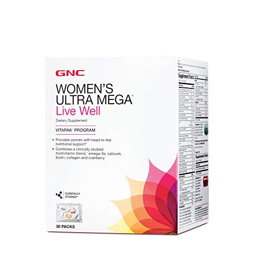 GNC Women's Ultra Mega Live Well Vitapak, 30 Packs, Contains Omega-3, Calcium, Biotin, Collagen and Cranberry for Overall Health