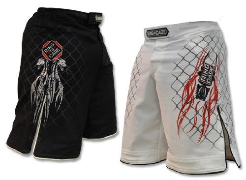 Ring to Cage Elite Fight Shorts - Black or White for MMA, BJJ, Jiu Jitsu, Grappling, No Gi, Wrestling (Waist 44', Black)