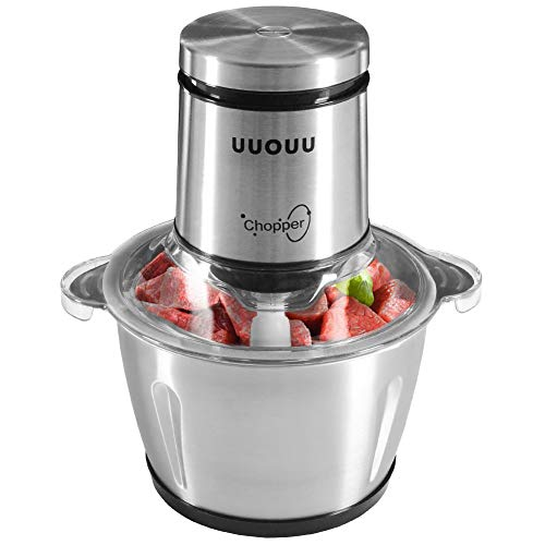 UUOUU Food Processor 8-Cup, Food Chopper Electric with Stainless Steel Bowl, 2-Layer Blades 4D Meat Blender, 250-Watt Copper Motor, Temperature Control, Easy Button
