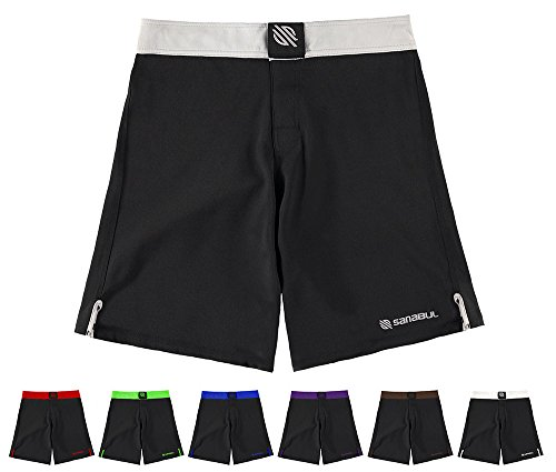 Sanabul Essential MMA BJJ Cross Fit Workout Shorts (30 inch W, Silver)