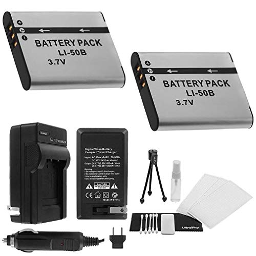 LI-50B Battery 2-Pack Bundle with Rapid Travel Charger and UltraPro Accessory Kit for Select Olympus Cameras Including SH-25MR, SP-720UZ, SP-800UZ, SP-810UZ, and SZ-31MR