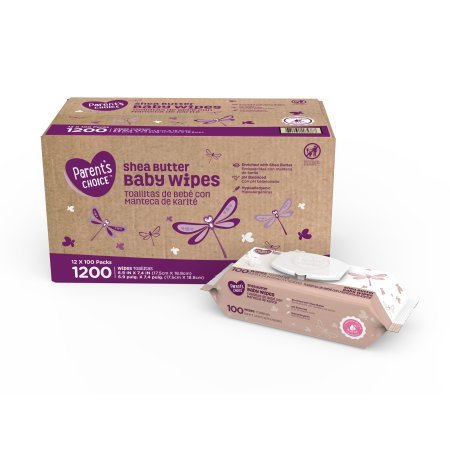 Parents Choice Baby Wipes, 12 packs of 100 (1200 count) (Shea Butter)