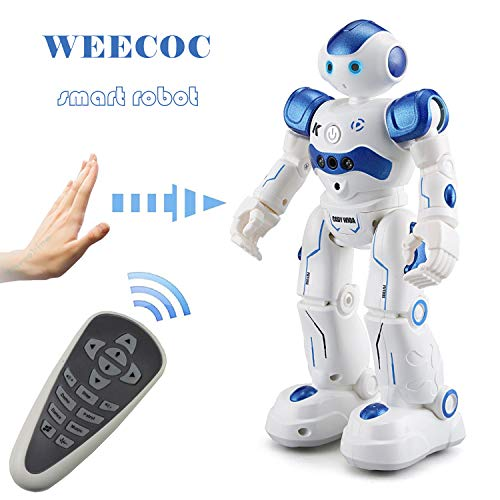 WEECOC/ Smart Robot Toys Gesture Control Remote Control Robot Rc Robot Gift for Boys Girls Kid's Can Singing Dancing (Blue)