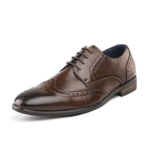 Bruno Marc Men's HUTCHINGSON_3 Brown Wingtip Oxford Dress Shoes Size 9 M US
