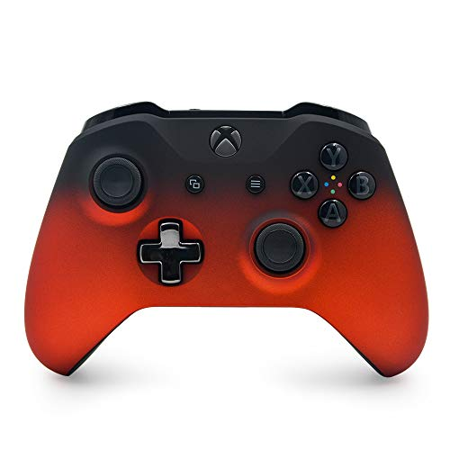 Oxide Red Shadow Custom Wireless Controller for Xbox One Console - Textured Grip - 3.5mm Headset Jack - Chrome Steel Black D-pad - Grey on Black ABXY
