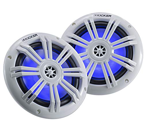 Kicker 45KM604WL 6.5 Inch 2 Way Coaxial Marine Light Up LED Boat Speakers, Pair, 4 Ohm, 150 Max Watts, Blue