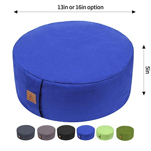 FelizMax Zafu Buckwheat Meditation Cushion, Round zabuton Meditation Pillow, Yoga Bolster, Floor Pouf, Zippered Organic Cotton Cover, Machine Washable - Blue, 13'x13'x5'