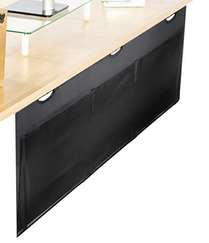 VIVO Black 60 Inch Under Desk Privacy and Cable Management Organizer Sleeve, Wire Hider Kit Panel System DESK-SKIRT-60