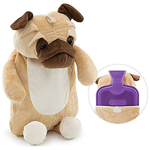 HomeTop Premium Classic Rubber Hot Water Bottle with Cute 3D Animal Cover (2L, Huggy Puggy)