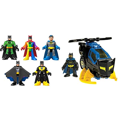 Fisher-Price Imaginext Batman 80th Anniversary 5-Pack [Amazon Exclusive] & Imaginext DC Super Friends, Batcopter [Amazon Exclusive]