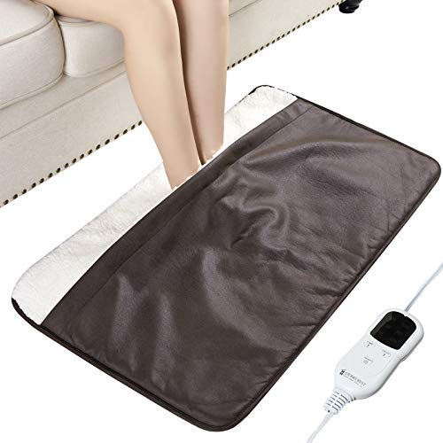 STONECREST Low Voltage Electric Foot Warmer, Foot Heating Pad with Max 2Hour Auto Shut-Off, Fast Heating, Faux Leather and Warm Sherpa, Full-Body Use, Feel Cordless (Chocolate, 35' x 20')