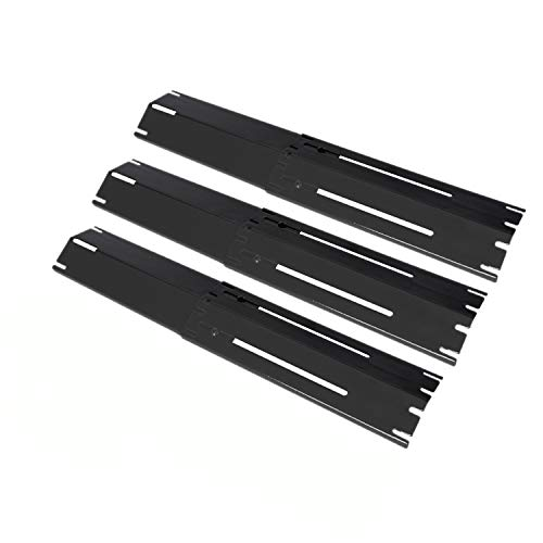 GasSaf Universal Adjustable Heat Plate Shield, Extends from 11.75' up to 21' L, Porcelain Steel Heat Tent Replacement for Brinkmann, Charbroil, Nexgrill and Other Gas Grill (3-Pack)