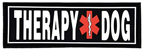 Dogline Therapy Dog Patches for Harnesses and Vests Removable 3D Rubber Patches with Hook Backing for Small Medium or Large Working Dogs 1.5' x 4' - One Patch