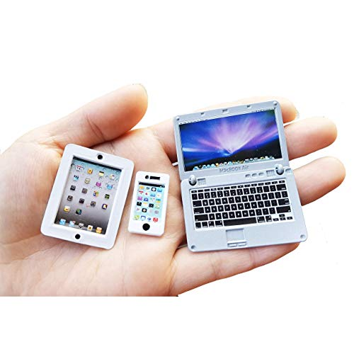 3 Pack Dollhouse Mini Laptop Computer Tablet and Phone Simulation Accessories for Doll 1/6 1/12 Miniatures