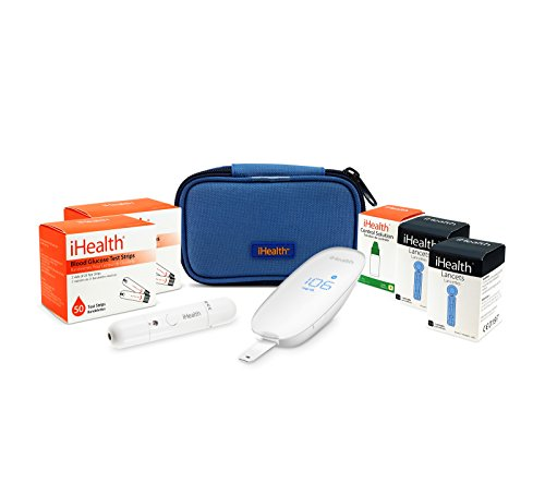 iHealth Smart Wireless Gluco Monitoring with 100 Test Strips, 100 Lancets and Control Solution