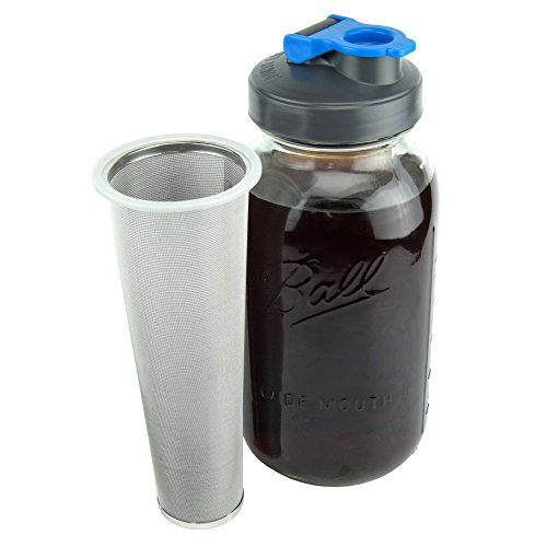 Cold Brew Mason Jar Coffee Maker by County Line Kitchen - 2 Quart, 64 oz – Durable Glass Jar, Heavy Duty Stainless Steel Filter, Flip Cap Lid For Easy Pouring, Easily Make Your Own Cold Brew