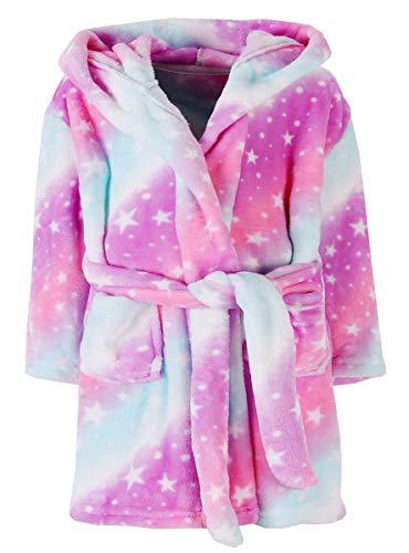 Ameyda Cosplay Costumes Girls' Robe, Galaxy Star Print Fleece Bathrobe Flannel Sleepwear Hooded Robe for Toddler Little & Big Girls, 01# Pink Galaxy Stars, 4 Years = Tag 110
