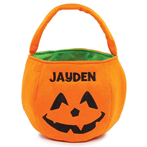 Halloween Orange Pumpkin Personalized Trick or Treat Bucket Bag with Collapsible Handle on Soft Felt Lined Candy Basket, Custom Name Embroidered with Black Thread, 9x9