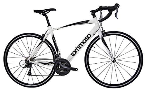 Tommaso Forcella Endurance Aluminum Road Bike, Carbon Fork, Shimano Claris R2000, 24 Speeds, Aero Wheels - Matte White - Medium