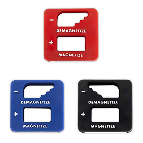Katzco Precision Demagnetizer-Magnetizer - Pack of 3 Colors - Black, Red, Blue - for Screwdrivers, Small Tools, Small, Big Screws, Drills, Drill Bits, Sockets, Nuts, Bolts, Nails, Construction Tools