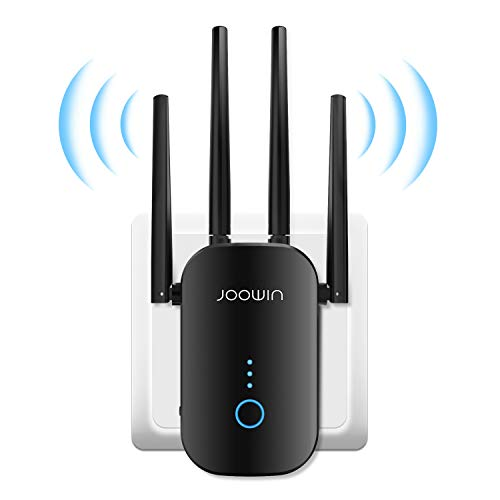 JOOWIN WiFi Extender, 1200Mbps Internet Booster WiFi Signal Repeater WiFi WiFi Range Extender for Home, 2.4GHz 5GHz Dual Band Wireless Internet Extender with External Antennas