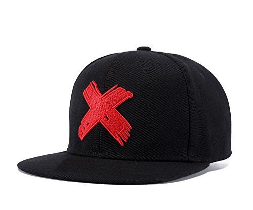 Unisex Snapback, Adjustable Big Cross Dad Hat Hip Hop Flat Bill Baseball Cap (Black Red)