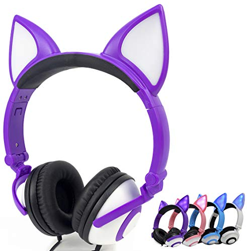Olyre Wired Kids Cat Headphones, On Ear LED Lights Stereo Glowing Headset Noise Isolating3.5mm Jack for Boys Girls Teens Adults iPad Cell Phones PC Tablet Computer (Purple)