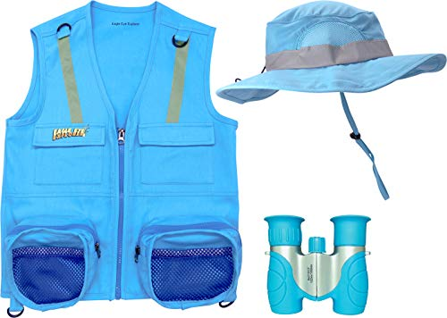 M/L 3 Piece Light Blue Set Cargo Vest with Reflective Safety Straps, 1 8x21 Magnification Binoculars and Safari Hat for Boys and Girls (Medium/Large, Light Blue Vest, Hat and Light Blue Binoculars)