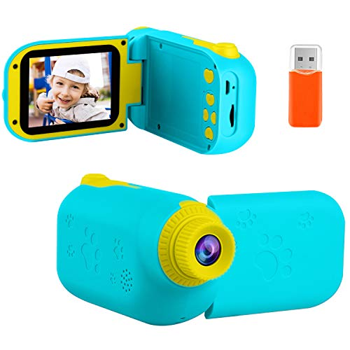 GKTZ Kids Video Camera Digital Cameras Camcorder Birthday Gifts for Boys and Girls Age 3 4 5 6 7 8 9 ,HD Children Videos Recorder Toy for Toddler with 32GB SD Card - Light Blue