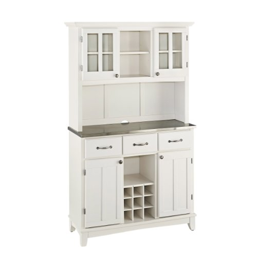 Home Styles Buffet of Buffets White Server with Stainless Steel Top and Hutch