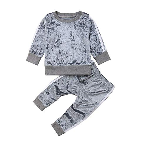 GOOCHEER 2 Pcs Fashion Toddler Kids Baby Girls Velvet Clothes Outfit Pant Set Fall Winter (2-3 Years, Grey)