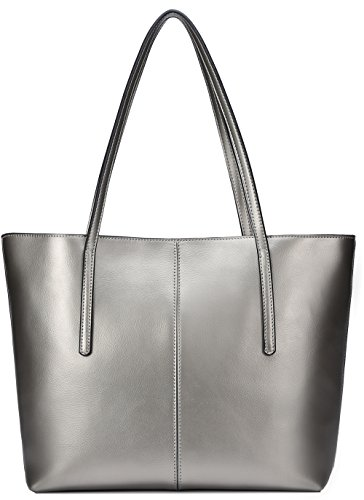 Covelin Women's Handbag Genuine Leather Tote Shoulder Bags Soft Hot Silver grey